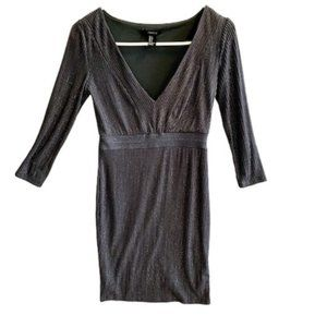 Forever 21 Metallic Long Sleeve Knit Dress Small
